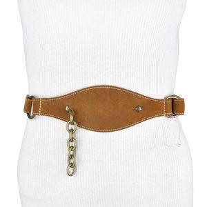 BCBG Brown Leather Metallic Chain Belt